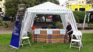 """GIRES stall at the Trans Pride Park event """"ready to go"""" after setup (Pictures by Denise Anderson)"""
